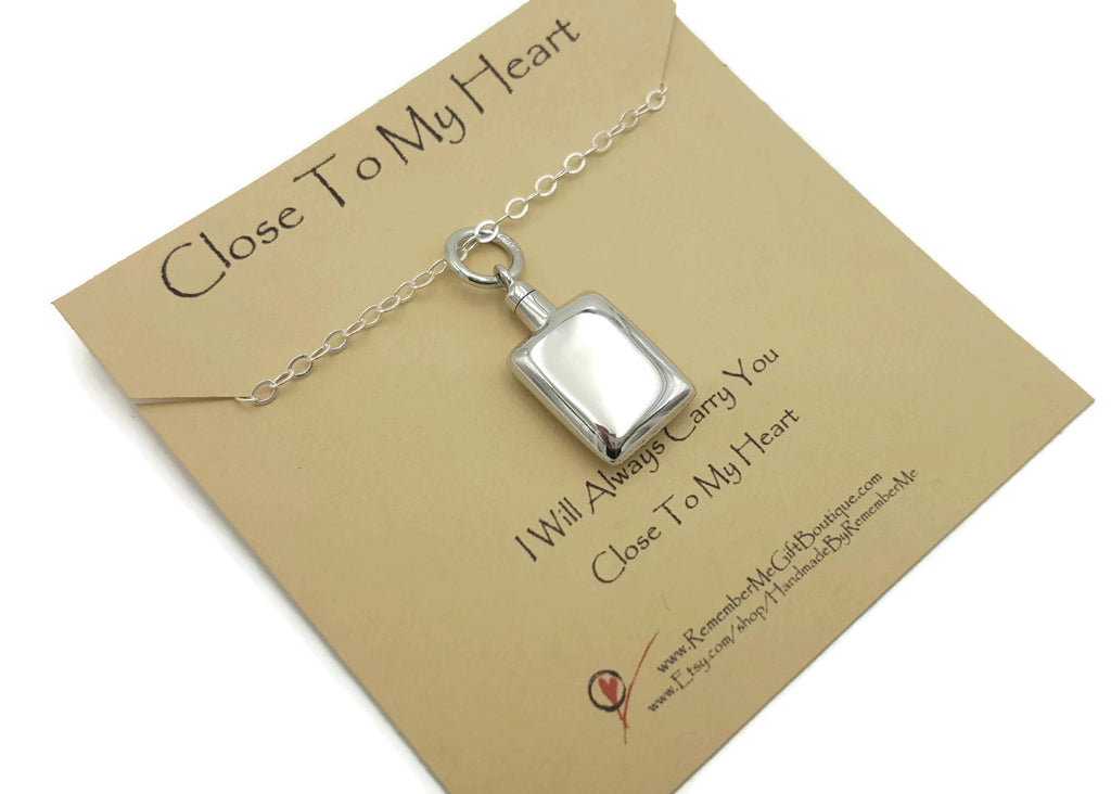 Rectangular Ashes Pendant Necklace - Sterling Silver Cremation Jewelry - Remember Me