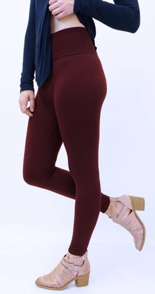 bf6a1ee989532 Burgundy Tummy Control Fleece Leggings – Buttons Lace and Grace Boutique