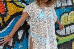 Openwork Plunging Tassel Cover Up Dress - White