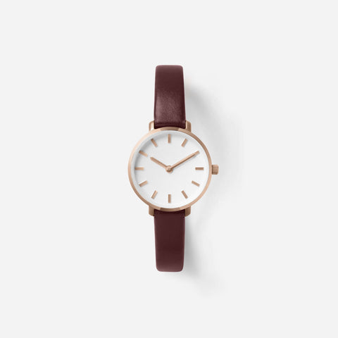 BREDA Women's 'Beverly' 1730e Rose Gold and Maroon Leather Strap Watch, 25MM - NicholsonWatchCo