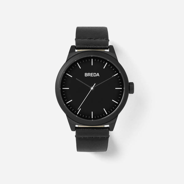 BREDA Men's 'Rand' 8184h All Black Leather Strap Watch, 43MM - NicholsonWatchCo
