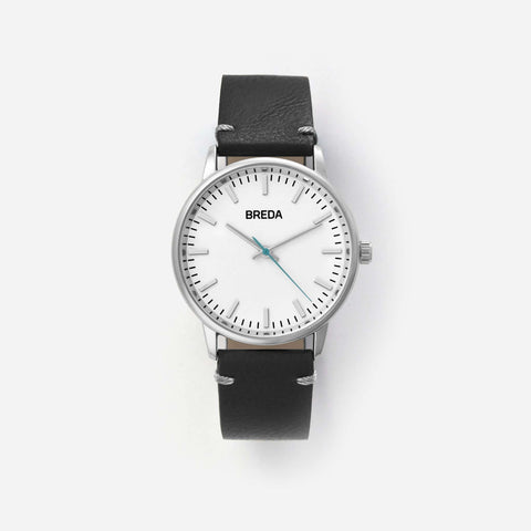 BREDA Men's 'Zapf' 1697e Silver and Black Leather Strap Watch, 39MM - NicholsonWatchCo