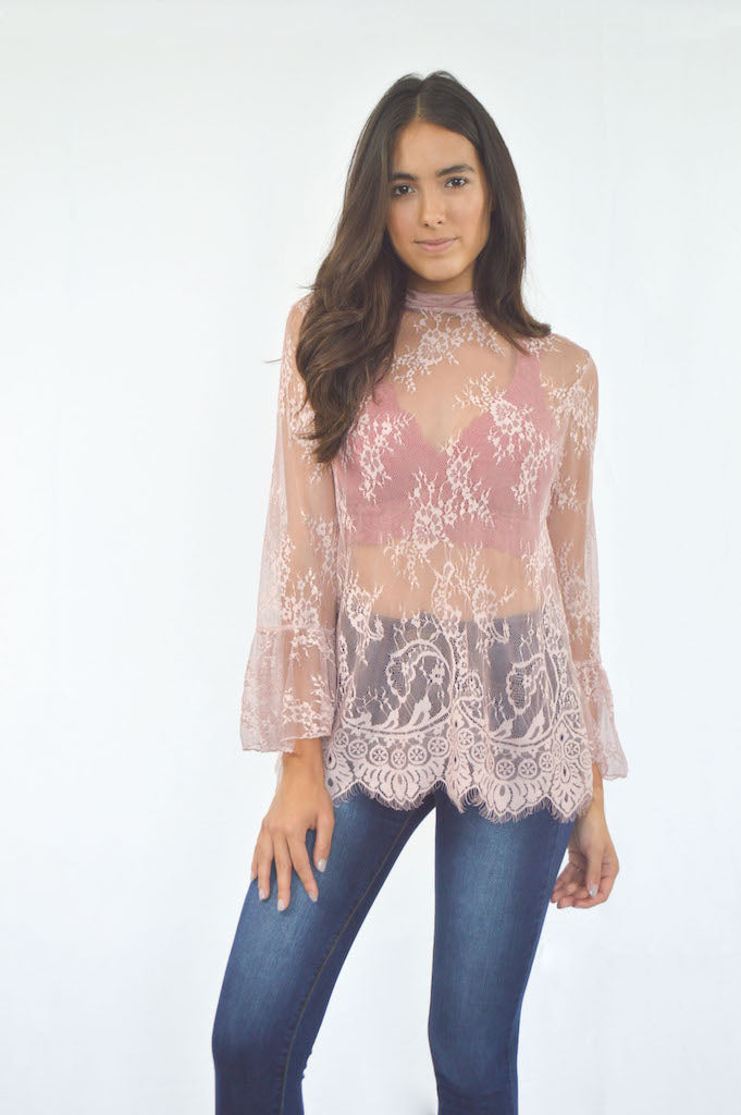503798f764c74f Lace Mock Neck Bell Sleeves Top | Women's Fashion Online ...