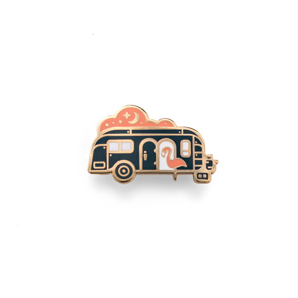 Vintage Airstream Night Camper - Outdoor Pin Series - Enamel Lapel Pin