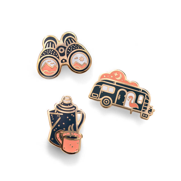 3-Piece Outdoor Series - Camping Lapel Pin Gift Set
