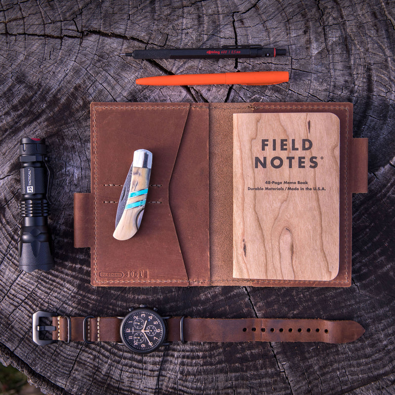 Black Leather Field Note Wallet + Journal