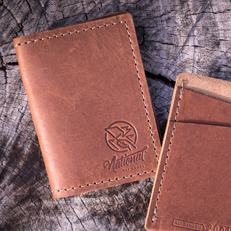 Black Leather Folding Wallet