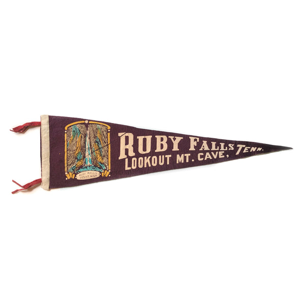 Vintage Ruby Falls / Look Out Mountain Tennessee Pennant