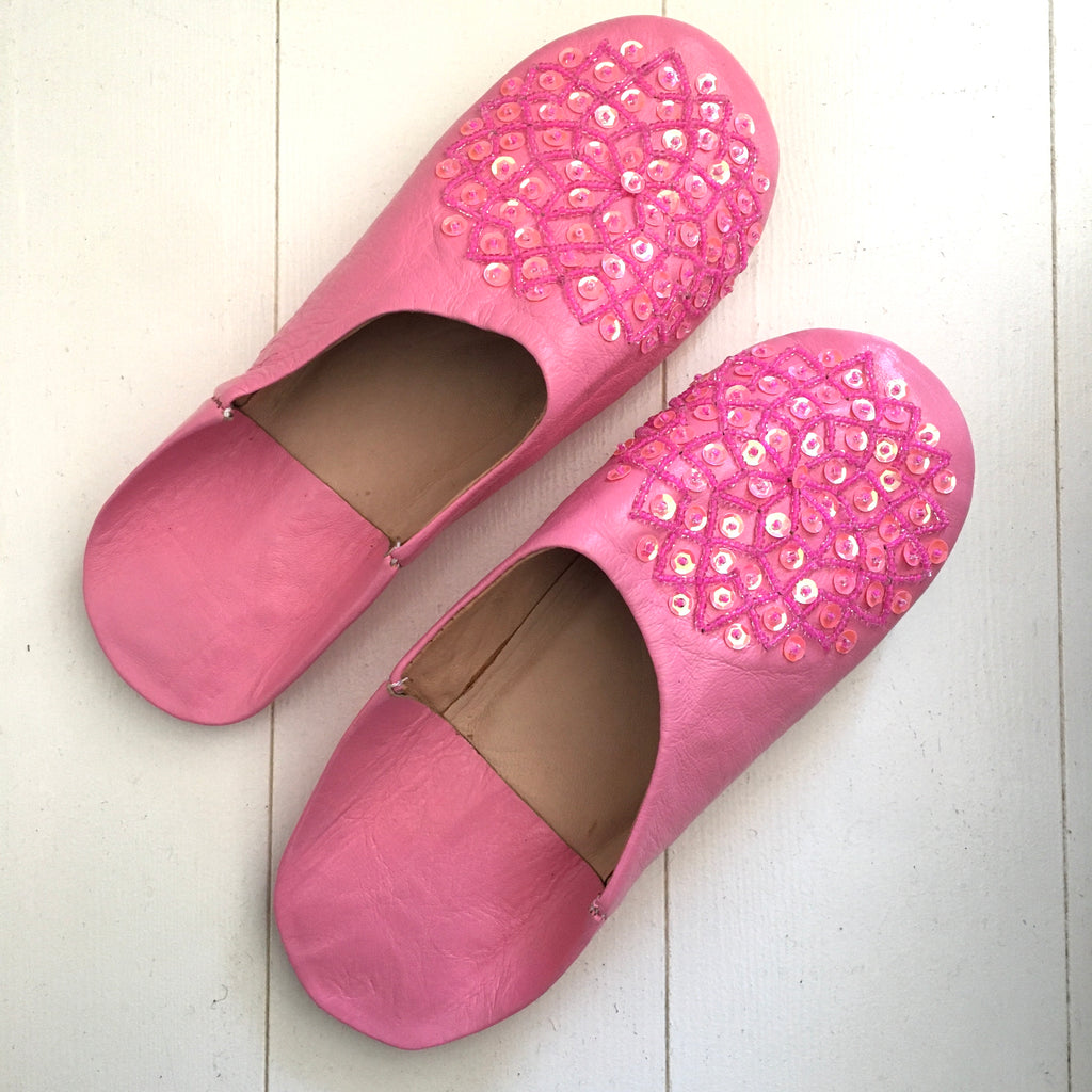 Sequinned Slippers - Pink Slippers - Mashi Moosh