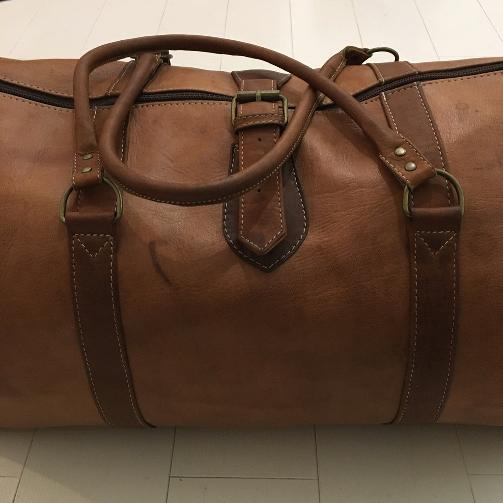 Leather Overnight/Travel Bag - Tan Bag - Mashi Moosh