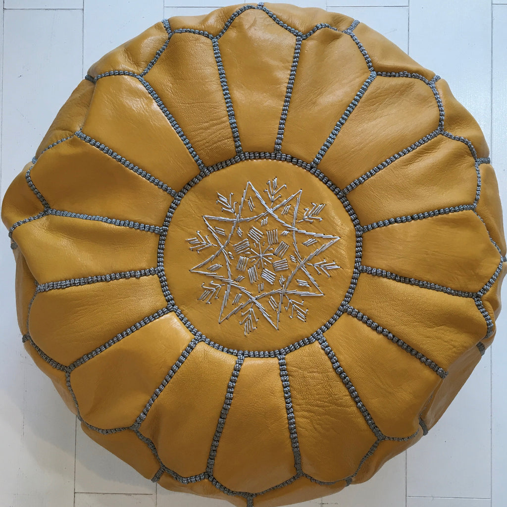 Embroidered Pouffe - Saffron (grey thread)