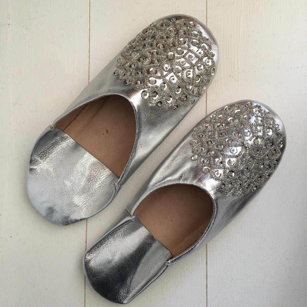 Sequinned Slippers - Silver Slippers - Mashi Moosh