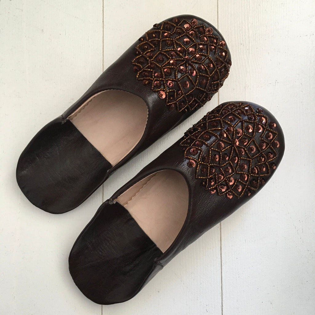Sequinned Slippers - Dark Chocolate Slippers - Mashi Moosh