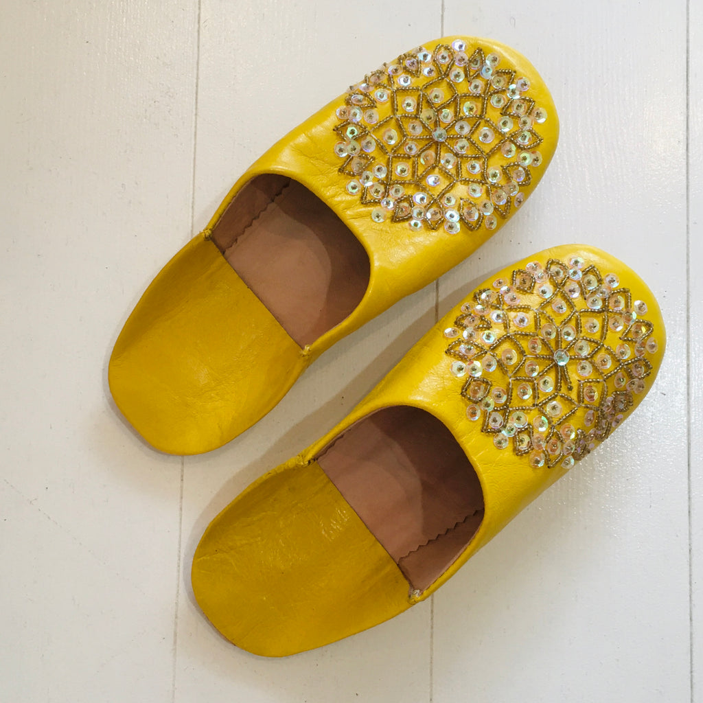 Sequinned Slippers - Sunshine Slippers - Mashi Moosh