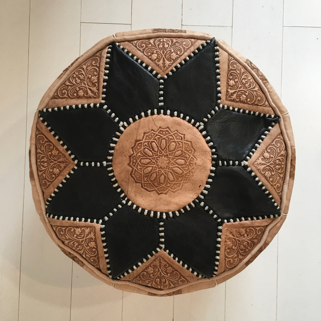 SunBurst Pouffe - Ebony (Small) Pouffe - Mashi Moosh