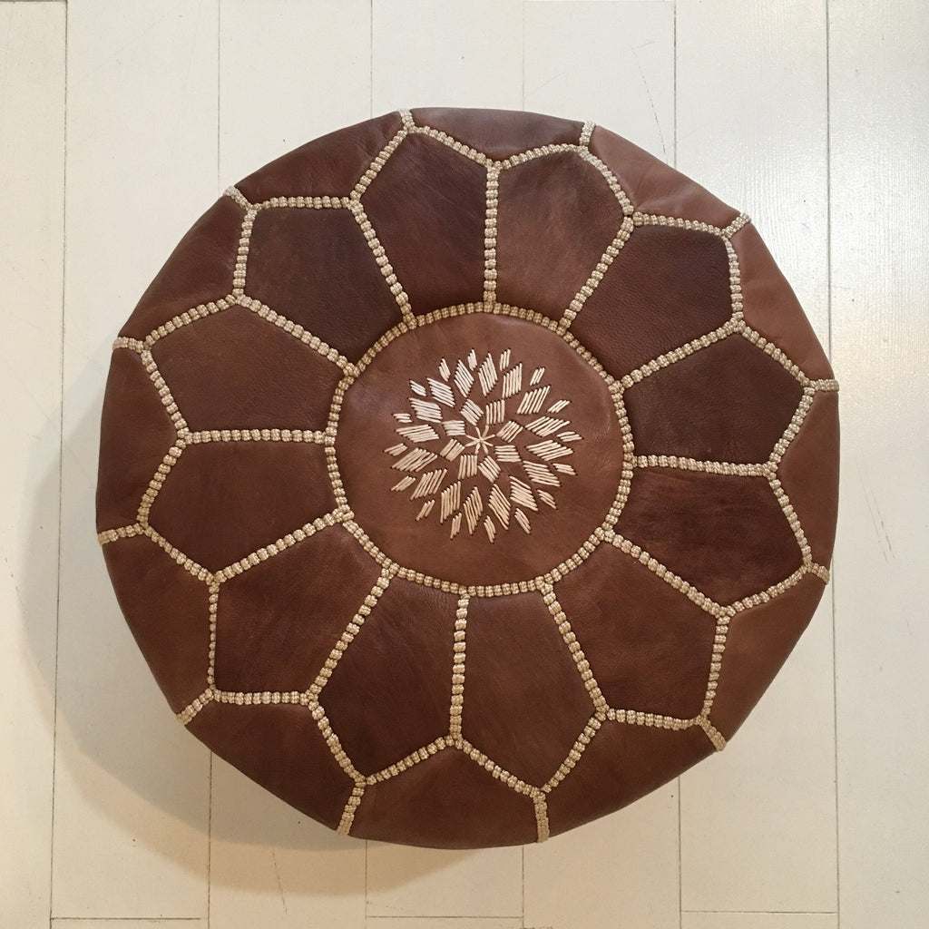 Embroidered Pouffe (Mini) - Chocolate Pouffe - Mashi Moosh