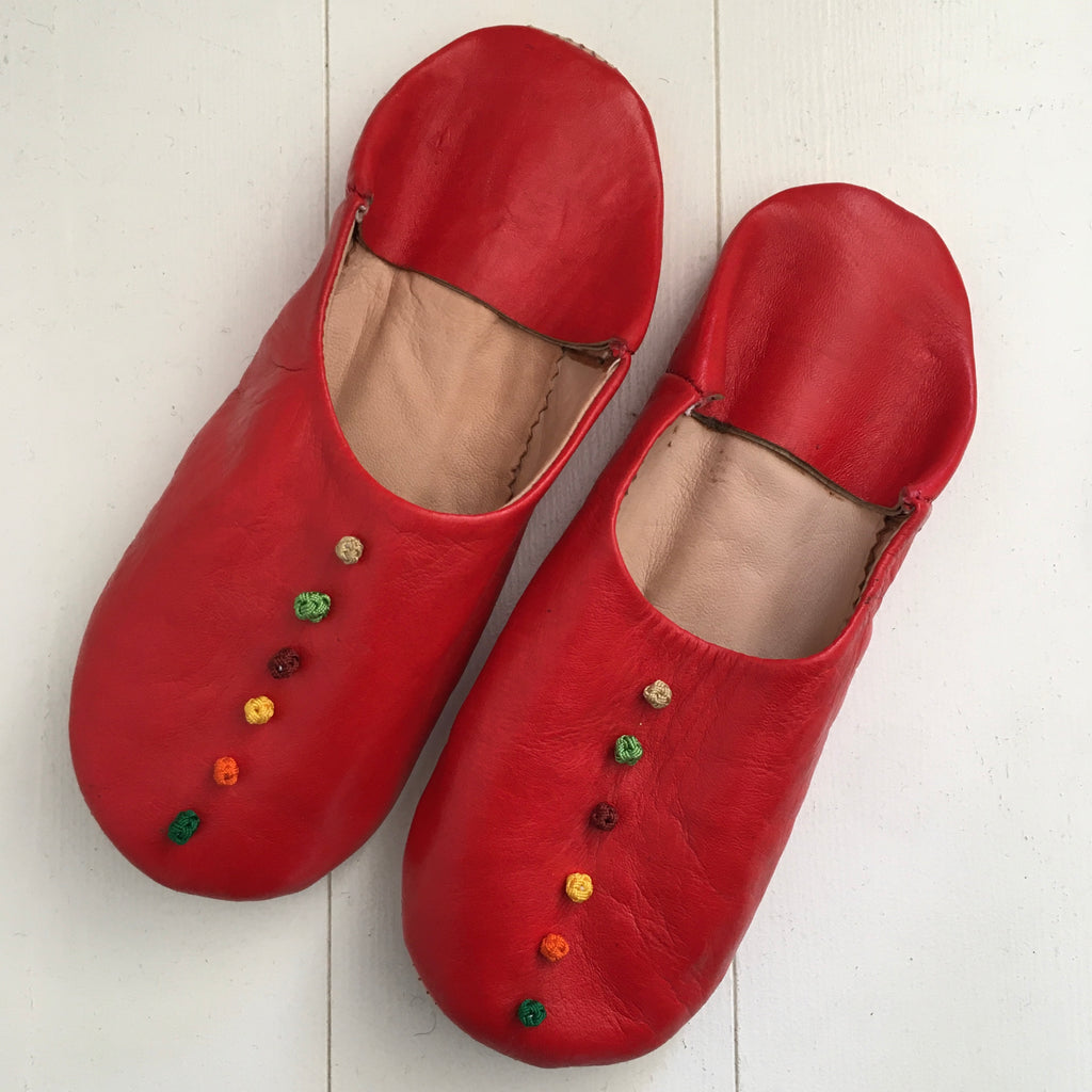 Pompom Slippers - Red Slippers - Mashi Moosh
