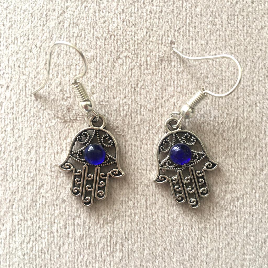 Hamsa Hand Earrings (Blue) Earring - Mashi Moosh