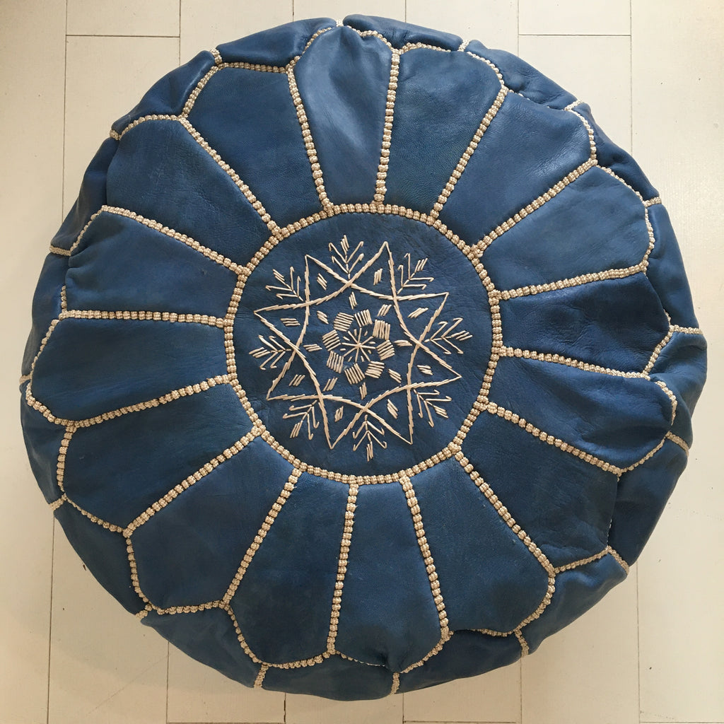 Embroidered Pouffe - Denim