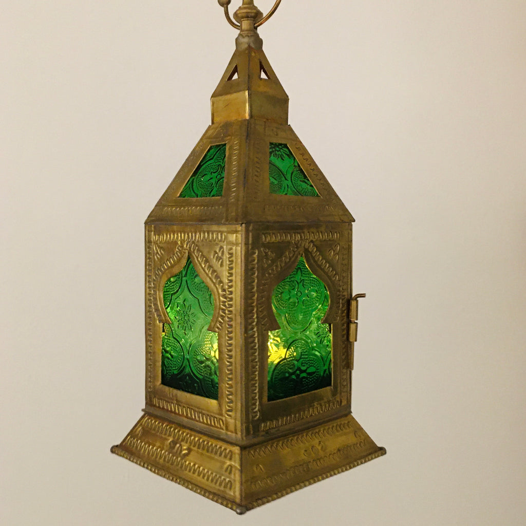 Brass Candle Lantern w/Green Glass Lantern - Mashi Moosh
