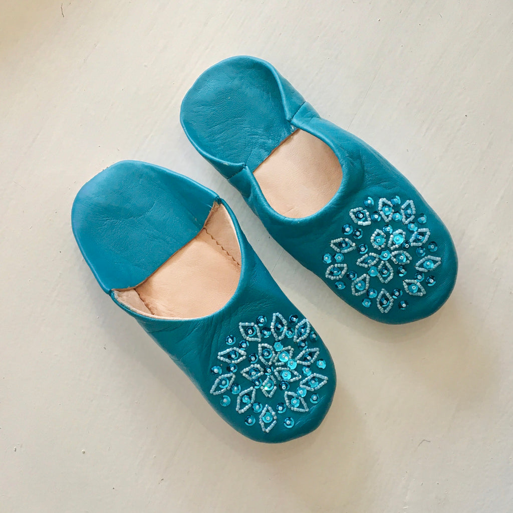 Sequinned Slippers - Teal (Children's)