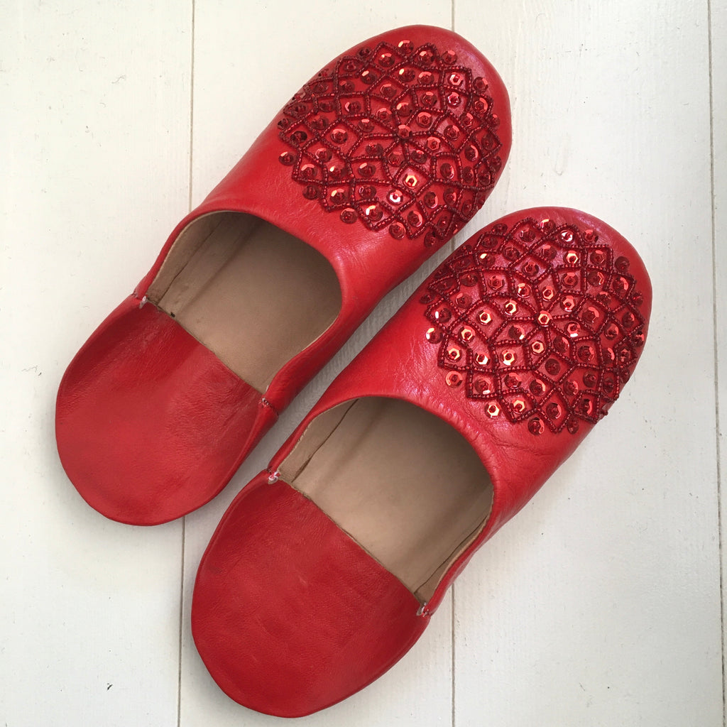 Sequinned Slippers - Red Slippers - Mashi Moosh