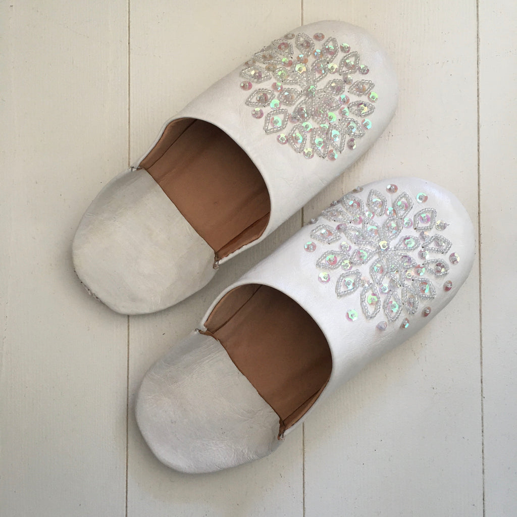Sequinned Slippers - White Slippers - Mashi Moosh