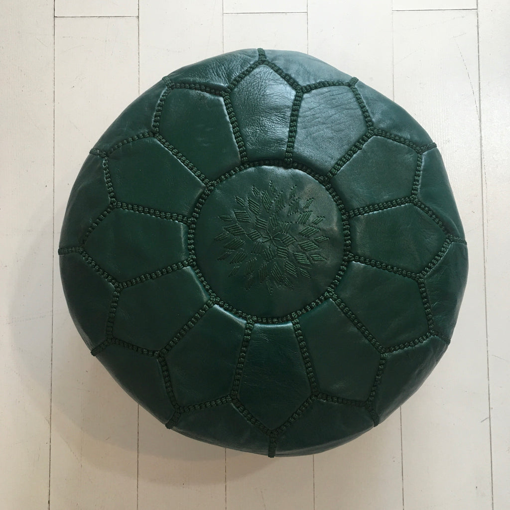 Embroidered Pouffe (Mini) - Green