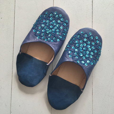 Sequinned Slippers - Blue