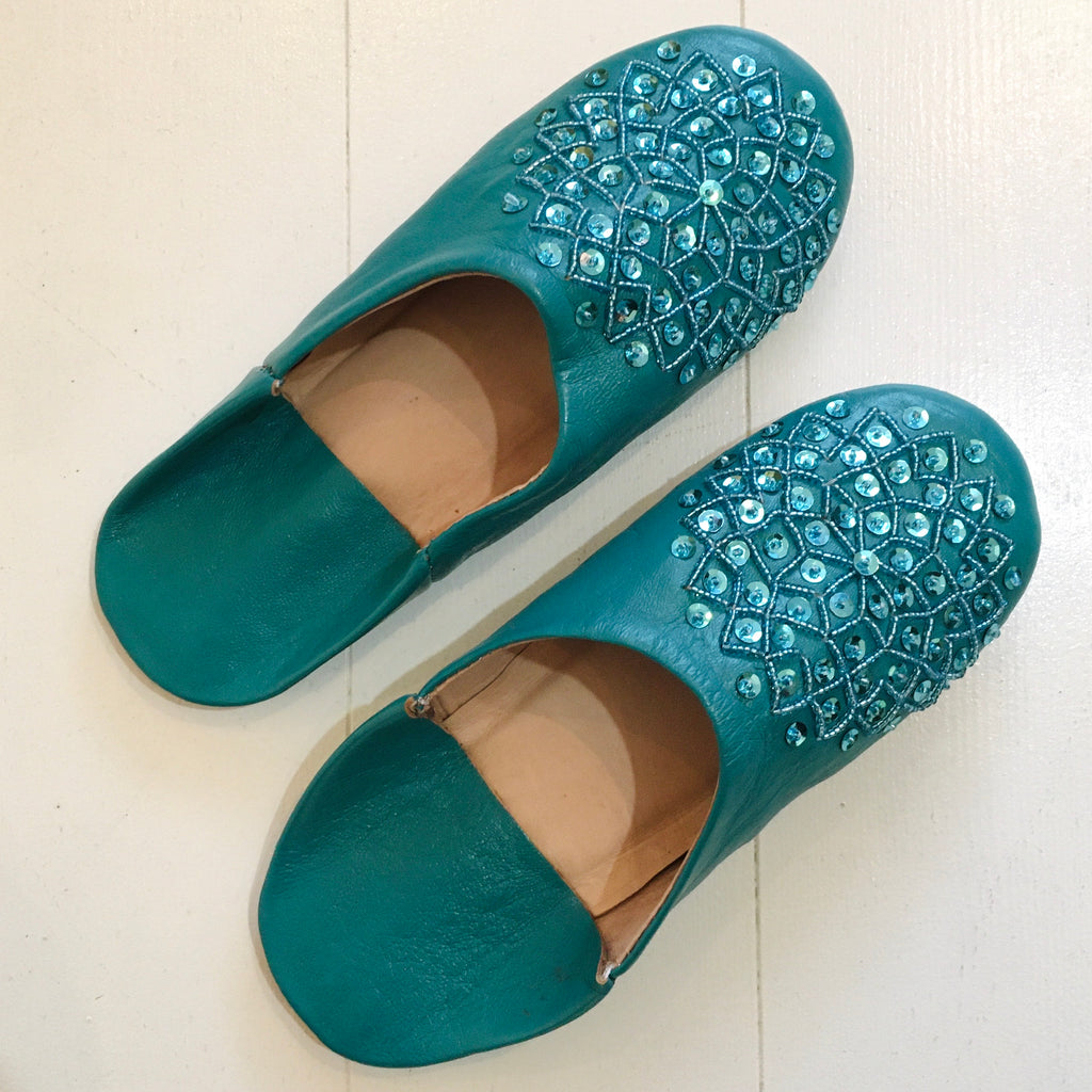 Sequinned Slippers - Teal Slippers - Mashi Moosh