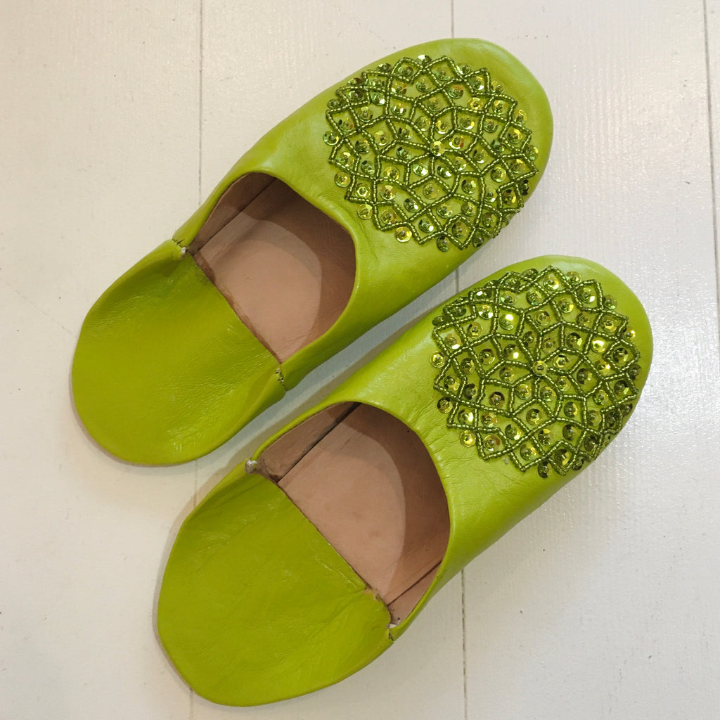 Sequinned Slippers - Lime Slippers - Mashi Moosh