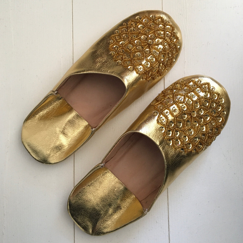 Sequinned Slippers - Gold Slippers - Mashi Moosh
