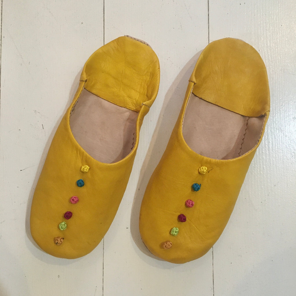 Pompom Slippers - Lemon