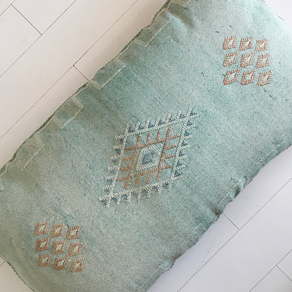 Cactus Silk Cushion (Pale Mint)