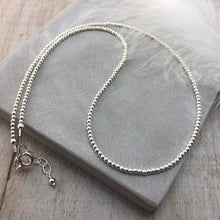 Load image into Gallery viewer, Thin 2mm Sterling Silver Bead Necklace, dainty necklace