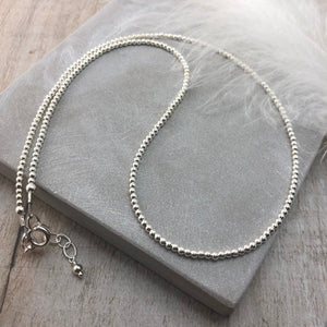Thin Sterling Silver Beaded Necklace