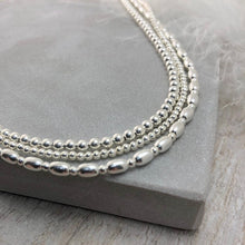 Load image into Gallery viewer, Thin Sterling Silver Oval Beaded Necklace, dainty necklace