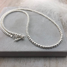 Load image into Gallery viewer, Thin Sterling Silver 3mm Bead Necklace, dainty necklace