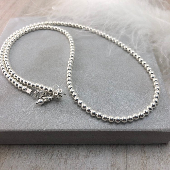 Thin Sterling Silver 3mm Bead Necklace, dainty necklace