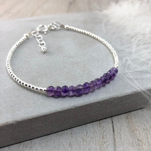 Purple Amethyst Bracelet, February Birthstone