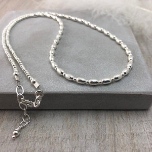 Thin Sterling Silver Oval Beaded Necklace, dainty necklace