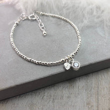Load image into Gallery viewer, Dainty April Birthstone Initial Bracelet, Personalised Cubic Zirconia Sterling Silver, birthstone bracelets