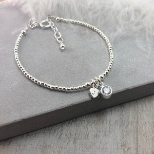 Dainty April Birthstone Initial Bracelet