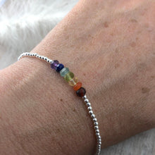 Load image into Gallery viewer, Dainty Balancing Chakra Bracelet, rainbow gemstones with sterling silver