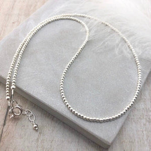 Thin 2mm Sterling Silver Bead Necklace, dainty necklace