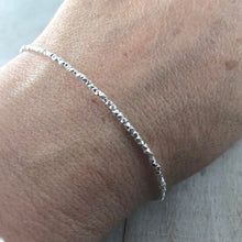 Load image into Gallery viewer, Delicate Karen Hill Tribe Silver Bracelet, delicate faceted silver bracelet 1.5mm width