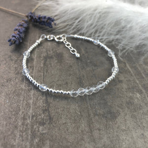 Dainty Rock Quartz Bracelet in Sterling Silver, April Birthstone