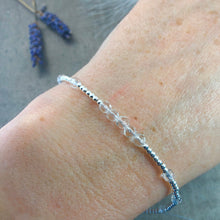 Load image into Gallery viewer, Dainty Rock Quartz Bracelet in Sterling Silver, April Birthstone