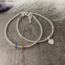 Load image into Gallery viewer, Personalised Family Birthstone Stacking Bracelet Set, Initial Bracelet