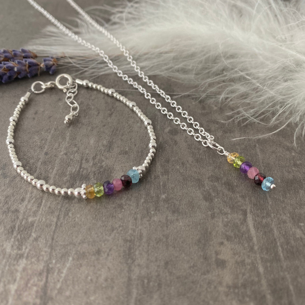 Family Birthstone Bracelet and Necklace Jewellery Set in Sterling Silver